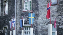 Flags of Baltic states Stock Footage