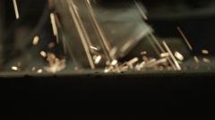 Metal Grinding Sparks Hit Ground Stock Footage