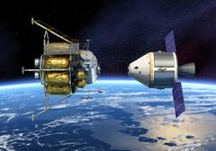 Crew Exploration Vehicle Orbiting Earth Stock Photos