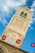 Tower of a mosque in tunis near the medina market; tunisia Stock Photos