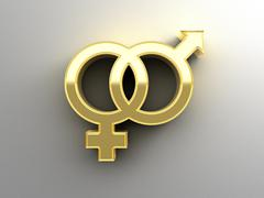Stock Illustration of male and female sex signs - gold 3d quality render on the wall background wit