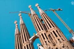sagrada familia church designed by architect antoni gaudi. barcelona, sapain. - stock photo