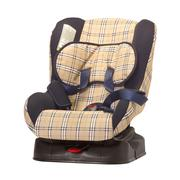 child safety seat for cars against a white background - stock photo