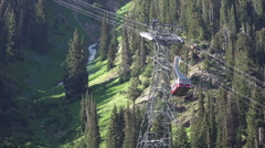 Aerial tram Snowbird Utah summer resort HD 044 Stock Footage
