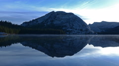 4K Time Lapse of Sunrise at Reflective Lake in Yosemite -Zoom Out- Stock Footage