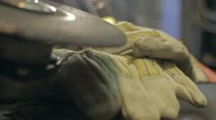 Metal Grinder and Safety Gloves Rack Focus Stock Footage