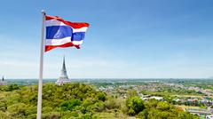 Stock Photo of thai flag waving in the wind