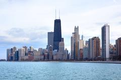 downtown skyline, chicago, illinois, usa - stock photo