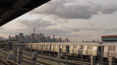 Manhattan Skyline view background Subway Station Brooklyn New York City 4K NYC Stock Footage