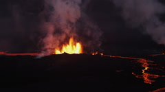 Stock Video Footage of Aerial Red Hot Lava Flowing Holuhraun Volcano Geological Eruption Iceland
