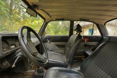 Old car interior Stock Photos