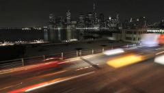 Lower Manhattan time-lapse with freeway traffic - stock footage