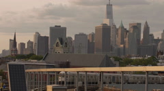 Manhattan Skyline Freedom Tower Subway Station Brooklyn New York City 4K NYC Stock Footage