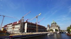 Documentation of a large construction site berlin castle Stock Footage