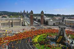 celebration of the national day of catalonia in barcelona, spain - stock photo