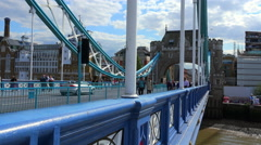 Blue balustrade of Tower Bridge London Stock Footage