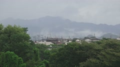 Foggy Mountain Rainy Storm Day Tokyo Suburb 4K Stock Footage