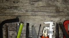 Tool renovation on grunge wood Stock Footage