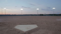 Tracking Shot of Empty Baseball Diamond at Dusk Stock Footage
