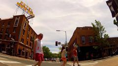 People Crossing Street In Historic Downtown Flagstaff Arizona Stock Footage
