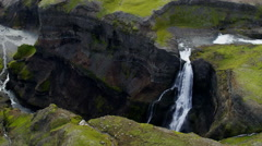 Stock Video Footage of Aerial Waterfall Haifoss Iceland Natural Mineral Rocks Energy Eco Tourism Travel