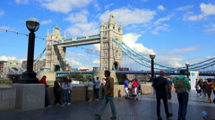 Crowd of people on The Queens Walk in The City of London Stock Footage