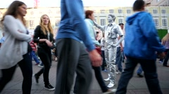 Street performer at Arbat street. Stock Footage