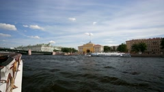 Walk along the Neva river. View of Admiralty. - stock footage