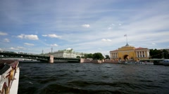 Walk along the Neva river. View of Admiralty. Stock Footage