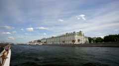 Walk along the Neva river. View of the Hermitage museum - stock footage