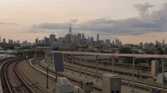 Manhattan Skyline view background Subway Station Brooklyn New York City 4K NYC - stock footage
