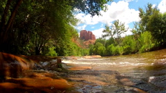 Cathedral Rock Above Oak Creek Wide- Sedona Arizona Stock Footage