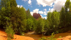 Cathedral Rock With Trees And Oak Creek- Sedona Arizona - stock footage