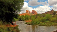 Stock Video Footage of Creek side Couple Enjoy Cathedral Rock View- Sedona Arizona