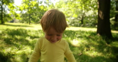 Boy Explores Park Stock Footage