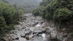 The mountain stone shallow stream Stock Footage