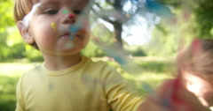 Little Boy Painting Stock Footage