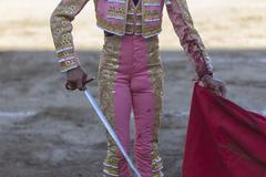 Spainish Bullfighter with the capote or cape, take in Linares, Andalusia, Spain - stock photo