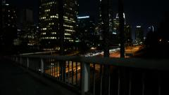LA Downtown Dolly 01 Forward Freeway at Night California Stock Footage