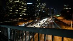 LA Downtown Dolly 02 Left Freeway at Night California - stock footage