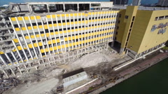 Miami Herald building aerial drone video Stock Footage