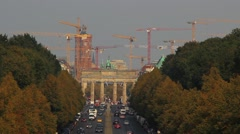 Time lapse from road traffic on brandenburg gate in berlin Stock Footage