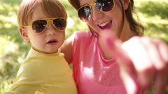 Mother and Son in Matching Sunnies Stock Footage