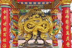 Golden dragon tap Stock Photos