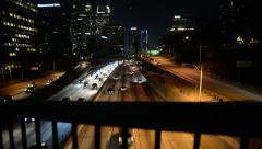 LA Downtown Dolly 03 Left In Freeway at Night California Stock Footage