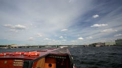 Walk along the Neva river, St. Petersburg, Russia. - stock footage