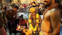 Devotees receive blessing inside Batu Caves Temple Stock Footage