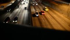 LA Downtown Dolly 05 Backwards Freeway at Night California Stock Footage