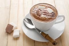 Hot mocha with marshmallow. Stock Photos