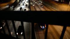 LA Downtown Dolly 06 Forward Freeway at Night California Stock Footage